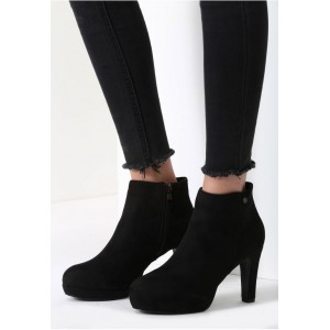 Čierne dámske semišové topánky na zimu