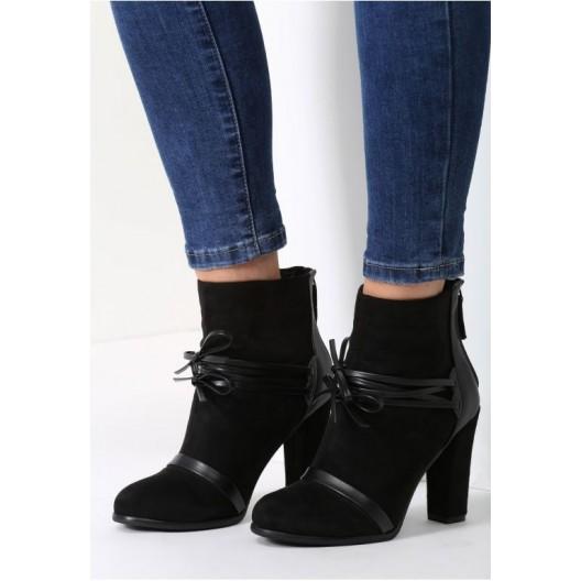 Dámske semišové topánky v čiernej farbe