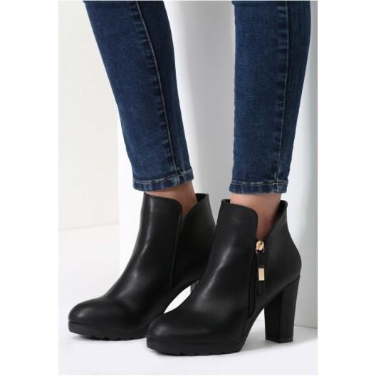 Zimné dámske topánky na podpätku čiernej farby
