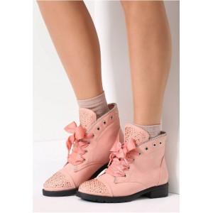 Členkové dámske topánky ružovej farby