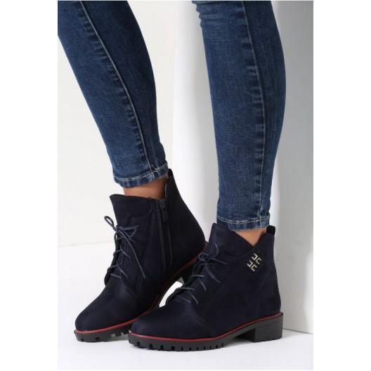 Elegantné členkové topánky v tmavo modrej farbe