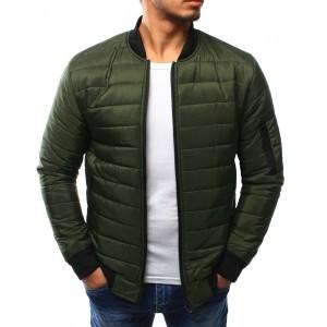 Zelená pánska prechodná bunda na zips