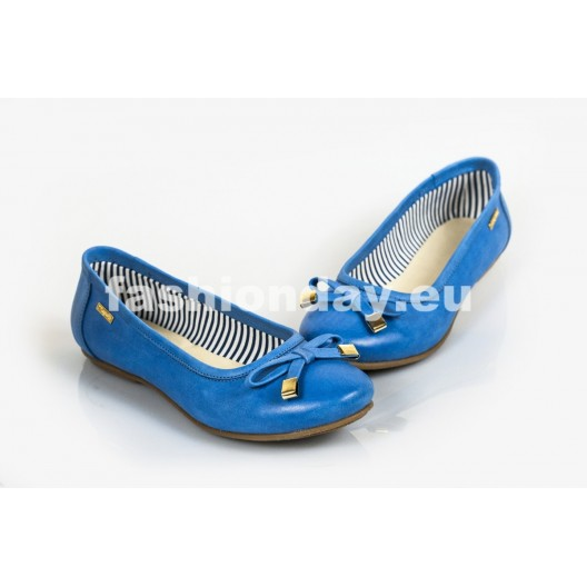 Dámske kožené balerínky modre DT231