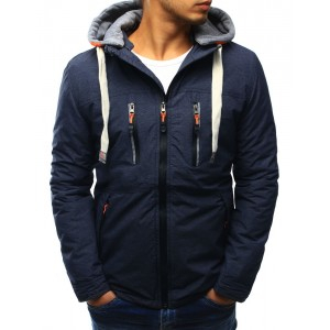 Modrá pánska prechodná bunda s kapucňou