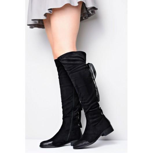 Čierne dámske čižmy na zips