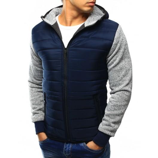 Pánska bunda s kapucňou modrej farby