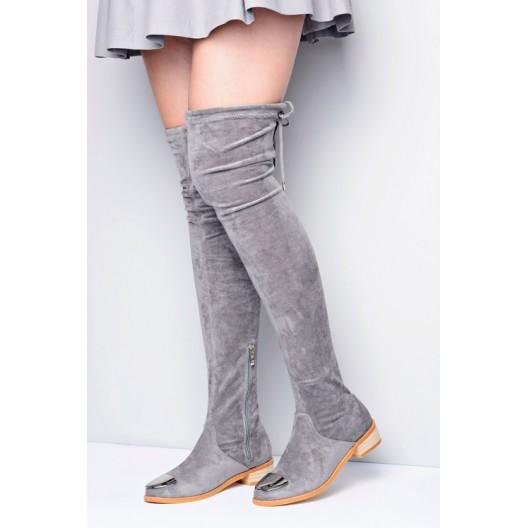 Sivé dámske zimné čižmy s aplikáciou na špičke
