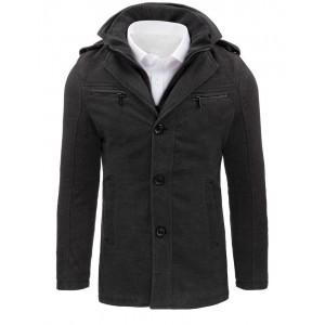 Tmavo sivý pánsky kabát na zimu
