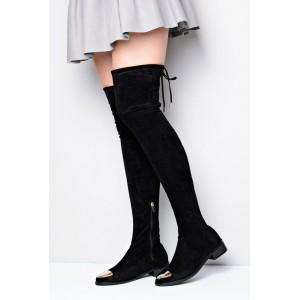 Čierne dámske zimné čižmy nad kolená