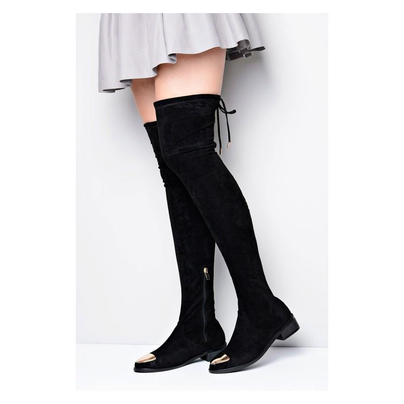 55b34a09ac Čierne dámske zimné čižmy nad kolená - fashionday.eu