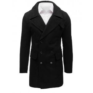 Dlhý pánsky zimný kabat v čiernej farbe