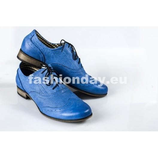Dámske kožené poltopánky dierkované modré DT233