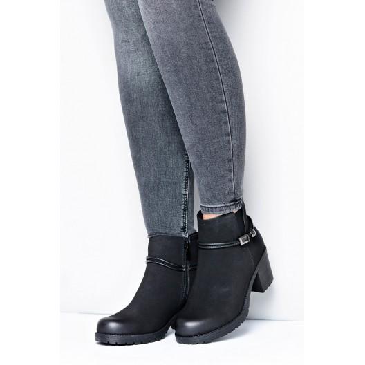 Čierne dámske topánky na hrubom podpätku