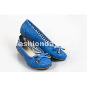 Dámske kožené balerínky dierkované modré DT240