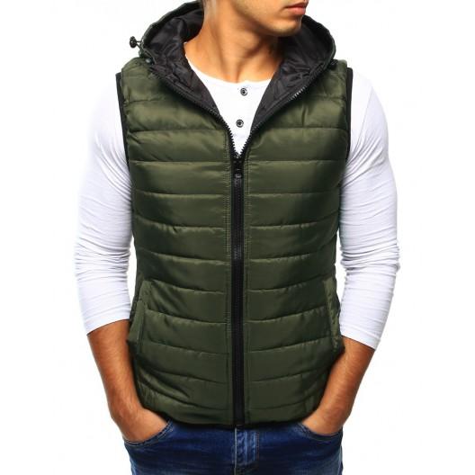 Pánska vesta s kapucňou zelenej farby