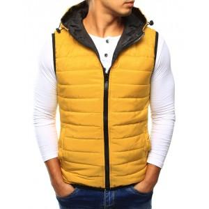 Žlté pánske vesty s kapucňou