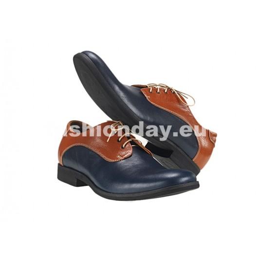 Pánske kožené topánky modré PT115
