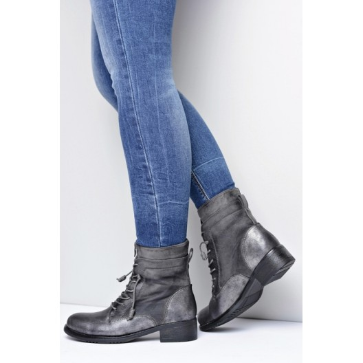Sivá dámska zimná obuv na šnurovanie