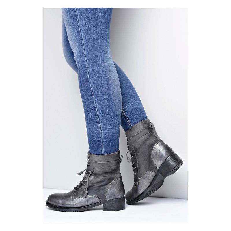 Sivá dámska zimná obuv na šnurovanie - fashionday.eu 0c8e72cb384