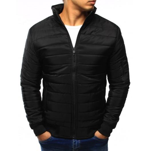 Čierna pánska prechodná bunda na zips