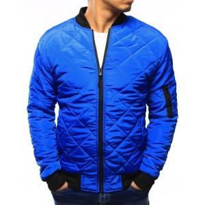 Modrá pánska prešívaná bunda na jeseň