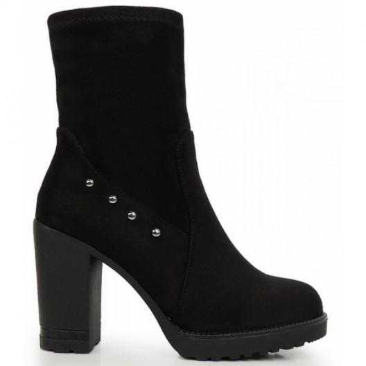 Elegantné členkové topánky v čiernej farbe