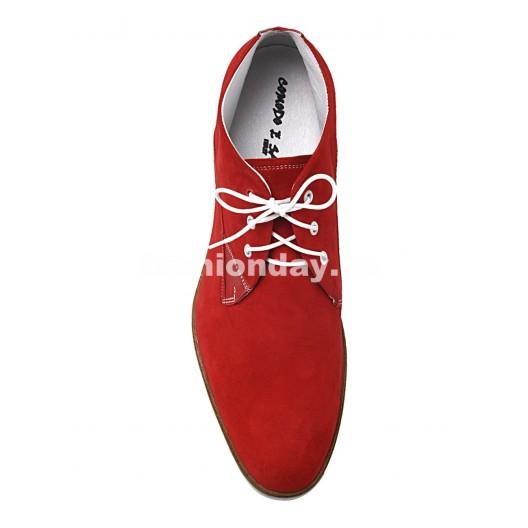 Pánske kožené topánky červené PT116