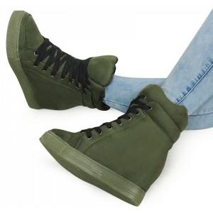 Zelené dámske členkové topánky na jeseň