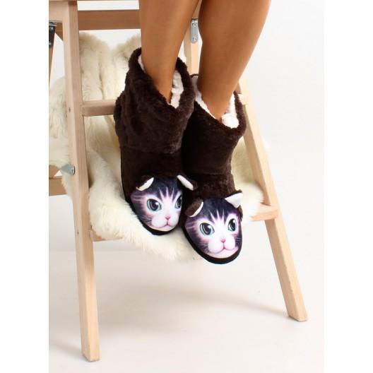 Hnedé dámske papuče s motívom mačky