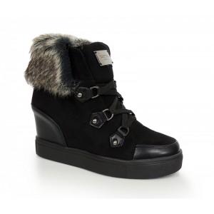 Čierna dámska obuv s kožušinou