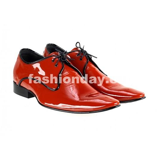 Pánske kožené extravagantné topánky červené  PT063