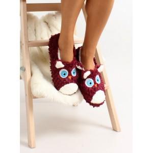 Bordové dámske papučky s očami