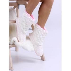 Pletené dámske papuče v bielej farbe