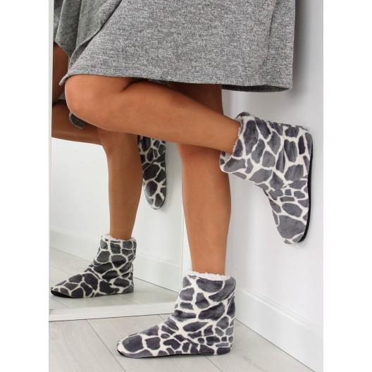 Sivé dámske papuče z kvalitných materiálov