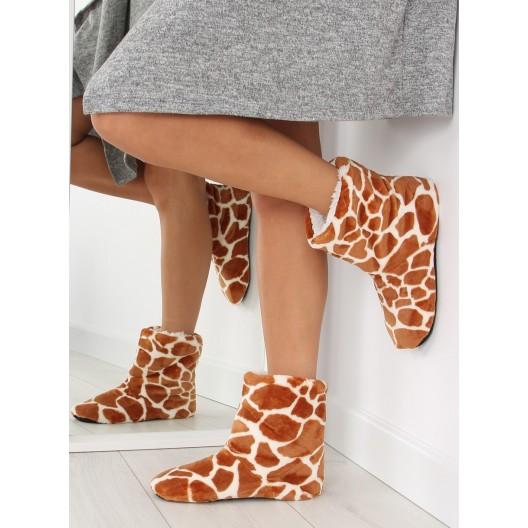 Vzorované dámske papuče v hnedej farbe