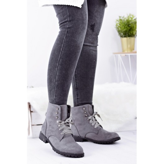 Zimné dámske členkové topánky sivej farby