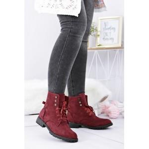 Módne dámske zimné topánky červenej farby