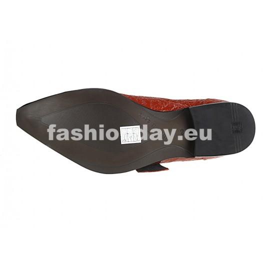 Pánske kožené extravagantné topánky červené PT065