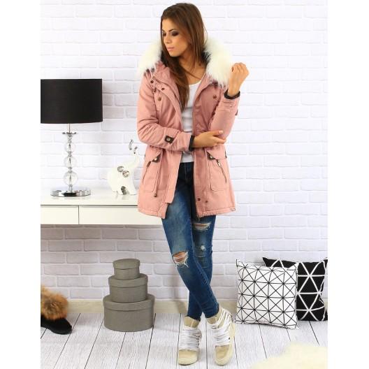 Ružová dámska zimná bunda s kožušinou