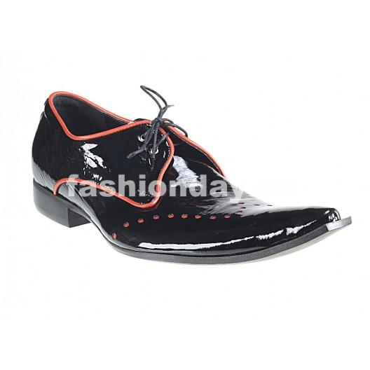 Pánske kožené extravagantné topánky čierne PT066