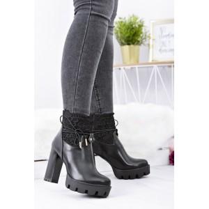 Čierna dámska zimná obuv na platforme