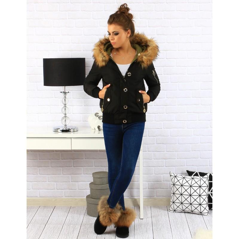 Dámske zimné bundy čiernej farby - fashionday.eu b3d14d15334