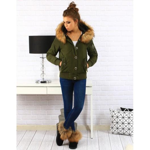 Zelená dámska bunda na zimu s kapucňou