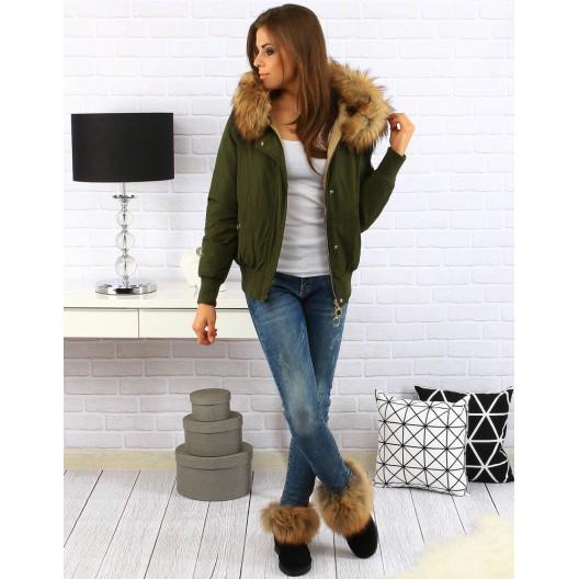 Khaki dámska zimná bunda
