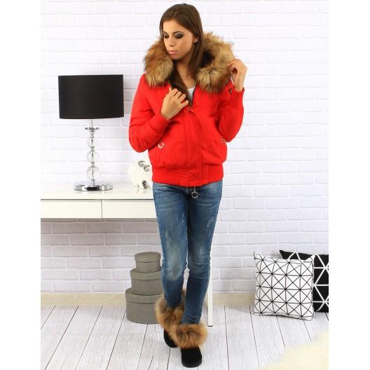 Červené dámske zimné bundy s kapucňou