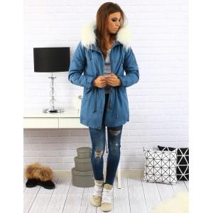 Módná dámska zimná bunda modrej farby