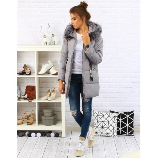 Sivá dámska bunda na zimu
