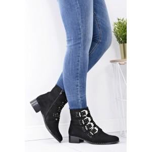 Čierne dámske členkové topánky s prackami