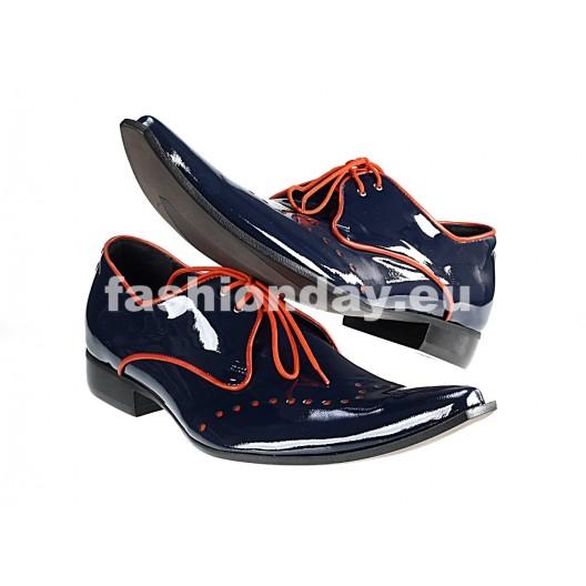 Pánske kožené extravagantné topánky čierne PT067