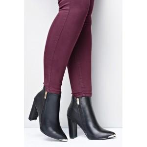 Členkové dámske prechodné topánky čiernej farby